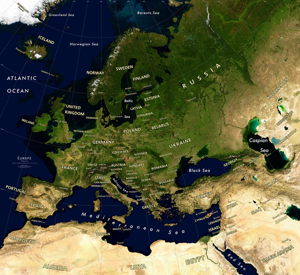 Europe Satellite Image Giclee Print Physical